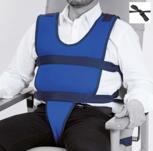 Vest with perineal for armchair or wheelchair