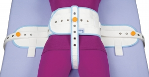 Abdominal safety belt with sewn perineal band